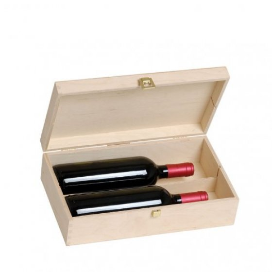 Drvena poklon kutija za dvije boce