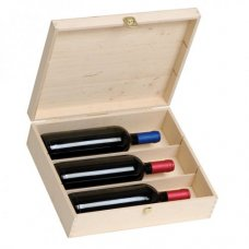 Wooden gift box for three bottles